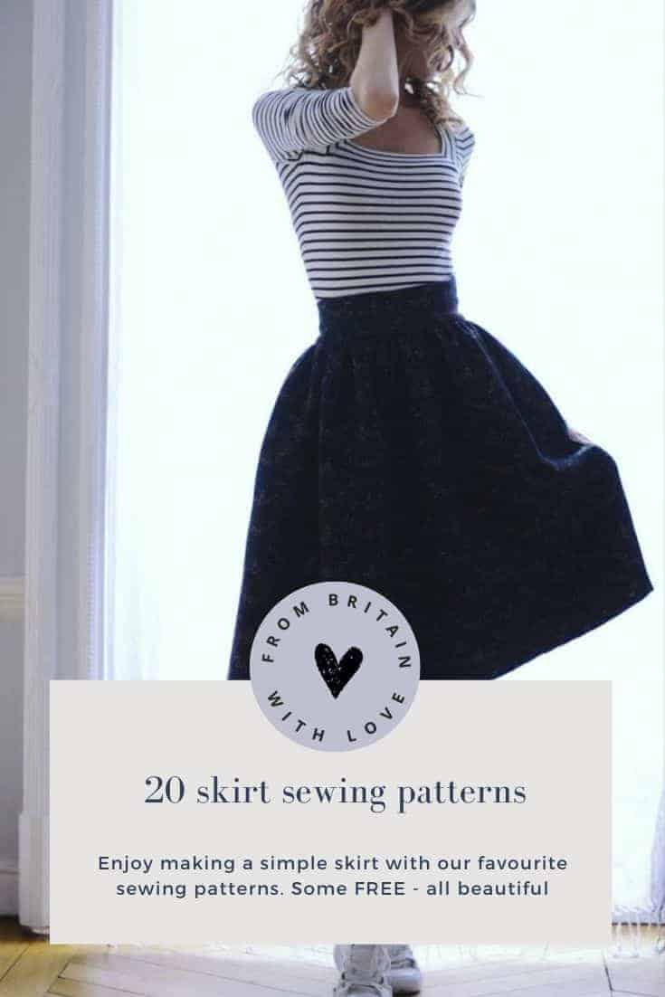 how to sew a skirt free and paid for sewing patterns to make a simple skirt #sewing #pattern #skirt #frombritainwithlove