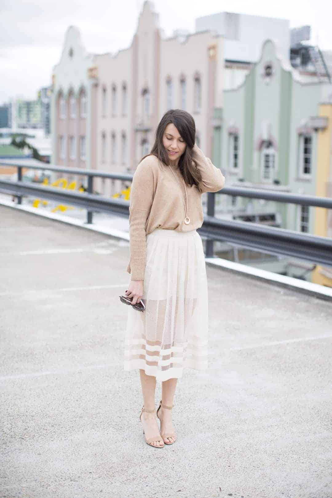 love this pretty midi skirt in gauzy see through fabric over mini shorts by Ada Spragg. Click through to get simple to follow DIY step by step tutorial to make one yourself as well as lots of other beautiful and easy to make skirt ideas you'll love to make and wear