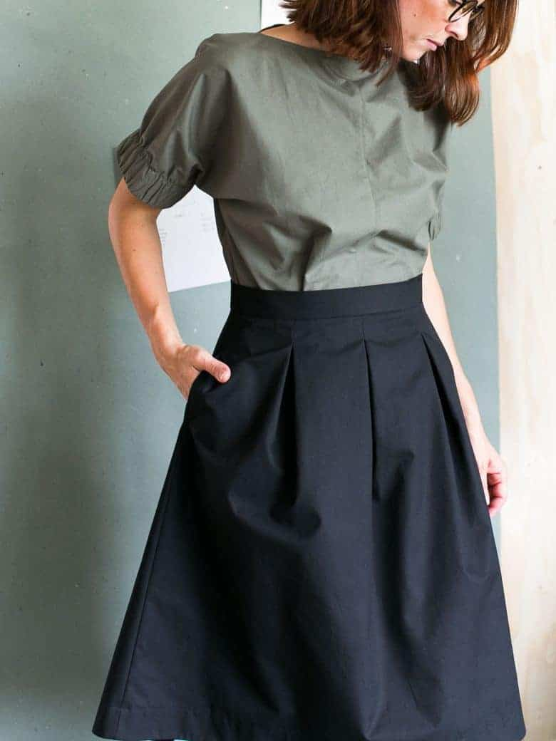 three pleat skirt sewing pattern by the assembly line. Click through to find out where to get this pattern as well as other great skirt sewing ideas and simple step by step DIY tutorial to making a basic skirt in minutes. #sewing #patterns #skirt #diy #tutorials #frombritainwithlove