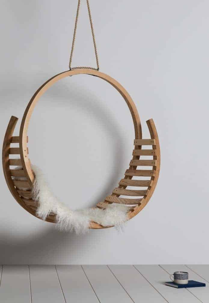 love this Amble hanging seat by tom raffield hand made in Cornwall using sustainable wood - ash - with eco-friendly natural oil blend finish