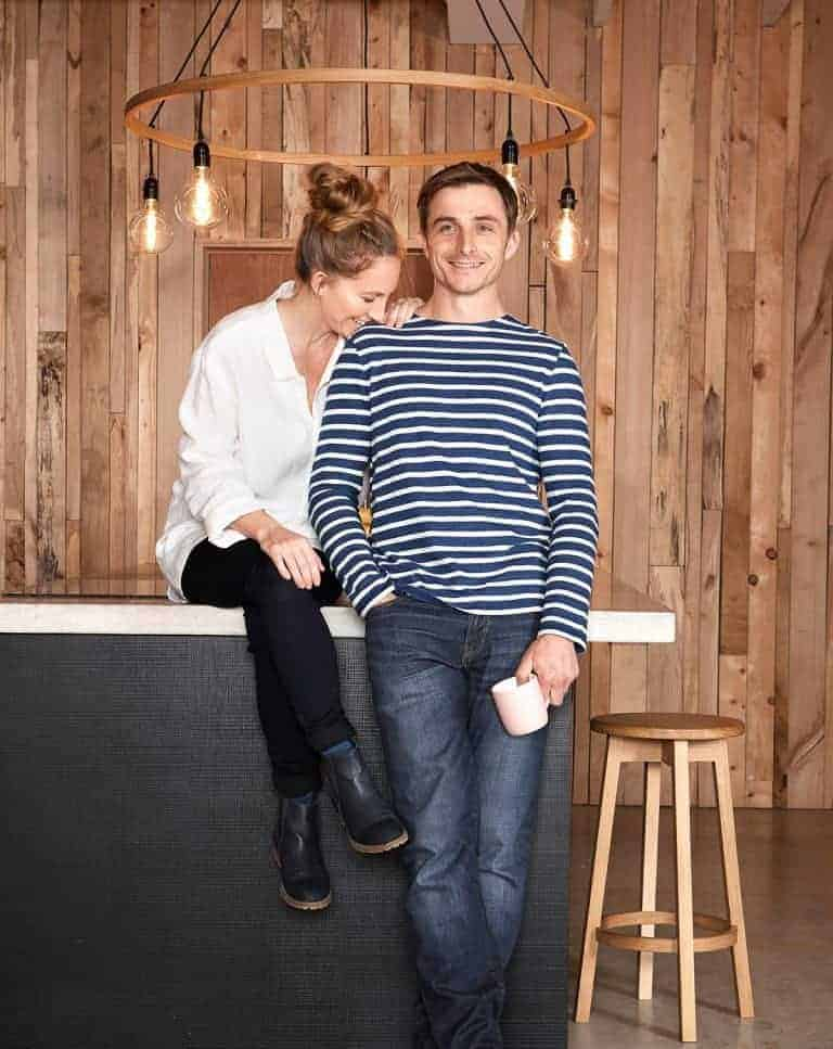 furniture and lighting designer maker tom raffield with his wife danielle. Click through to find out more about Tom's iconic designs all handmade in Cornwall using sustainable woods and eco friendly oil finishes and varnishes