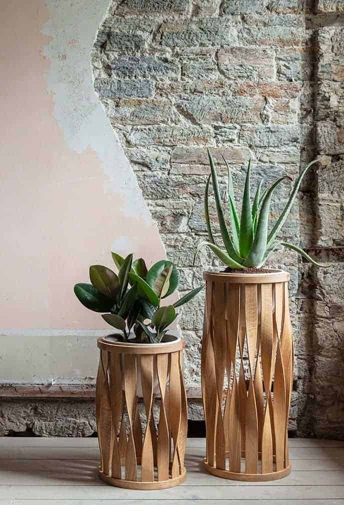 love this merryn floor standing sustainable wood planter by Tom Raffield, hand made in Cornwall with eco-friendly natural oil blend finish