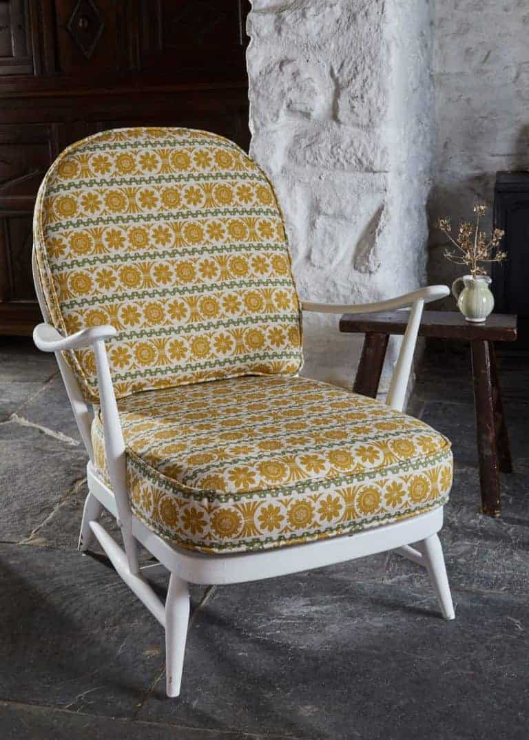 love this st judes yellow upholstered vintage rocking chair