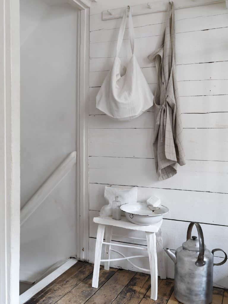 love this modern rustic stool and coat hook