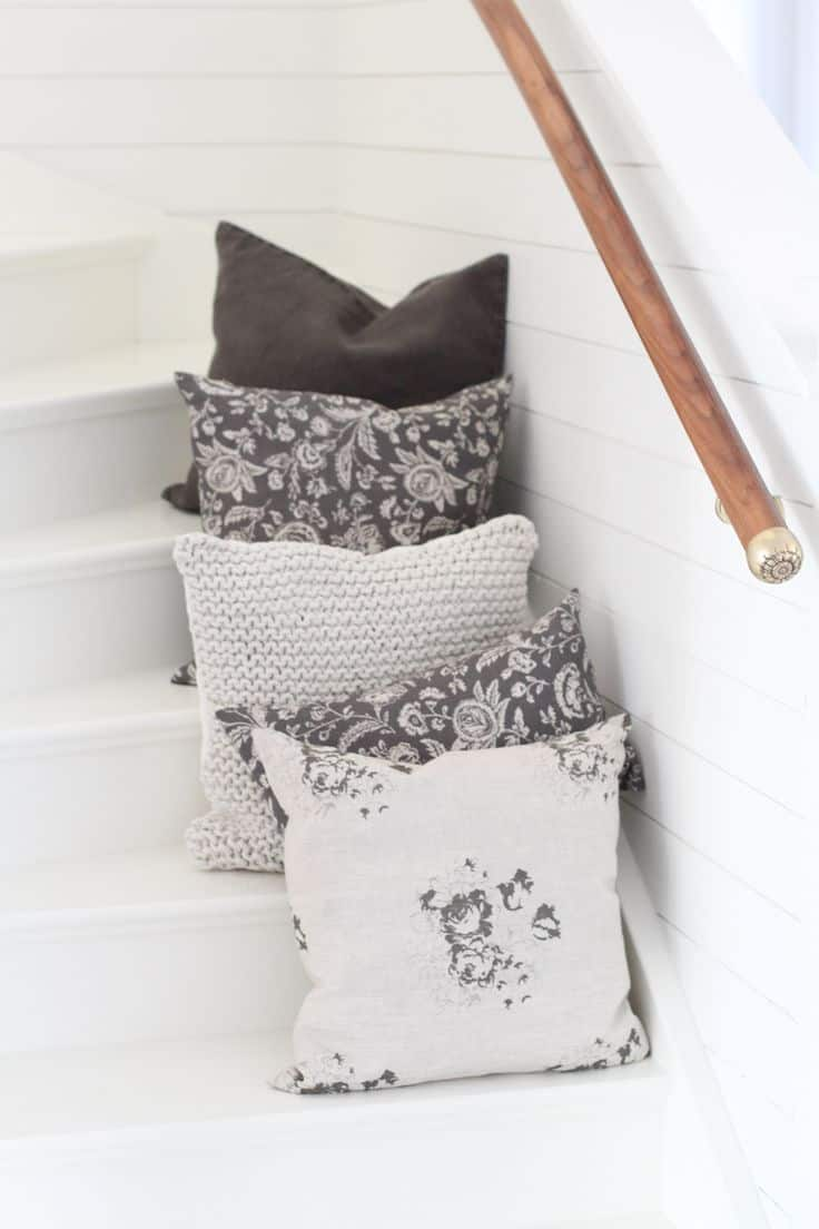 love these modern rustic cushions in linen prints and knitted cotton in greys, soft dove grey and charcoal