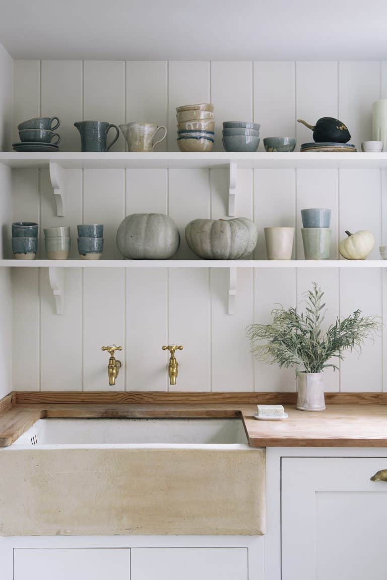 love this modern rustic open kitchen shelving with ceramics and wooden worktop with butler sink