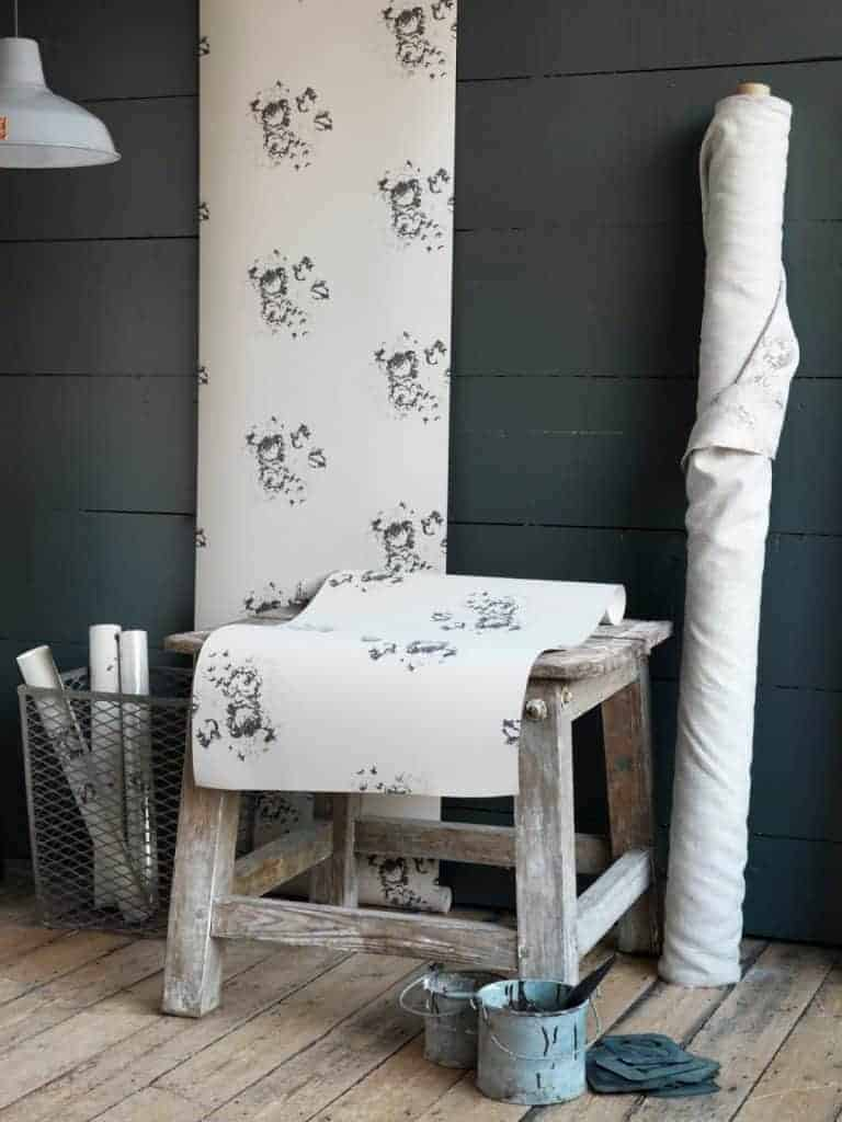 love this modern rustic wallpaper in grey floral on natural white by cabbages and roses