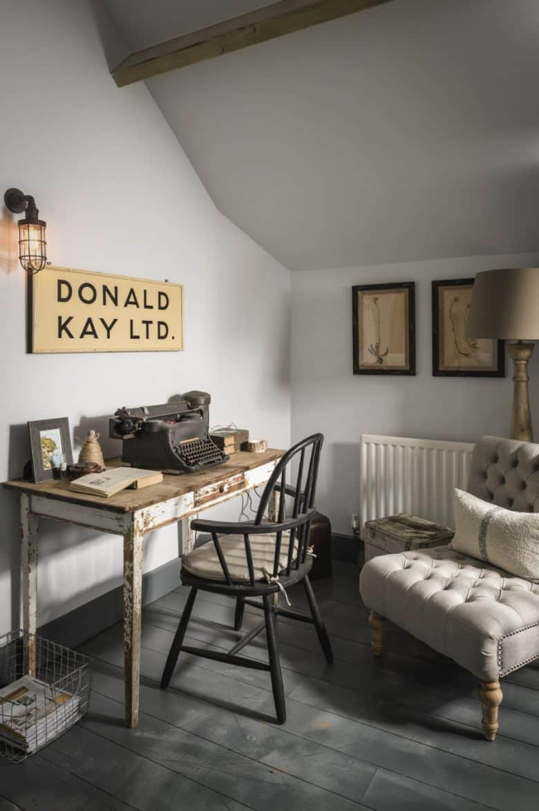 modern rustic home office work space studio interior decoration idea with vintage sign, industrial lighting, vintage reclaimed wooden desk, painted floorboards and antique herbier prints and vintage typewriter #home #office #workspace #modern #rustic