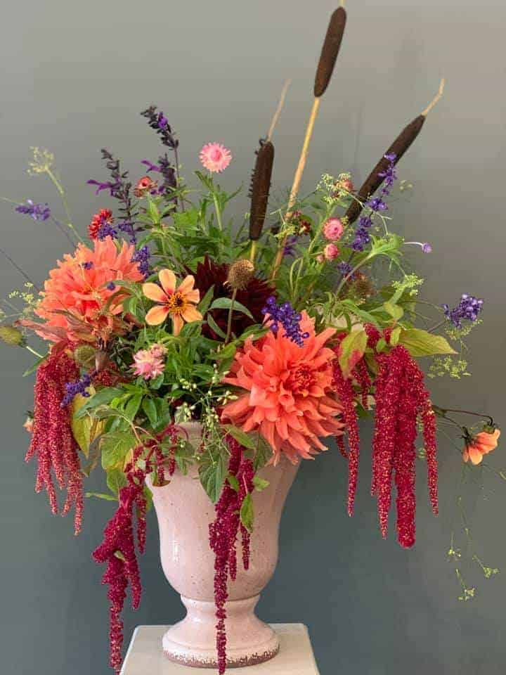 autumn flower arrangement orange dahlias amaranthus lavender wild flowers #autumn #flowers #dahlias #amaranthus #britishflowers