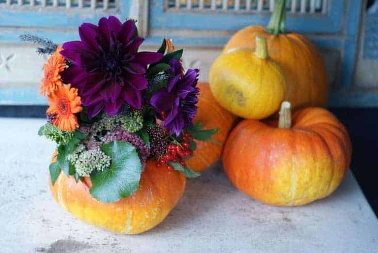 autumn pumpkin flower arrangement
