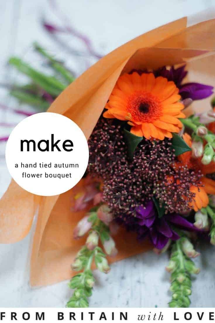how to make a hand tied seasonal flower autumn bouquet and how to arrange stunning autumn flowers and halloween pumpkin decorations