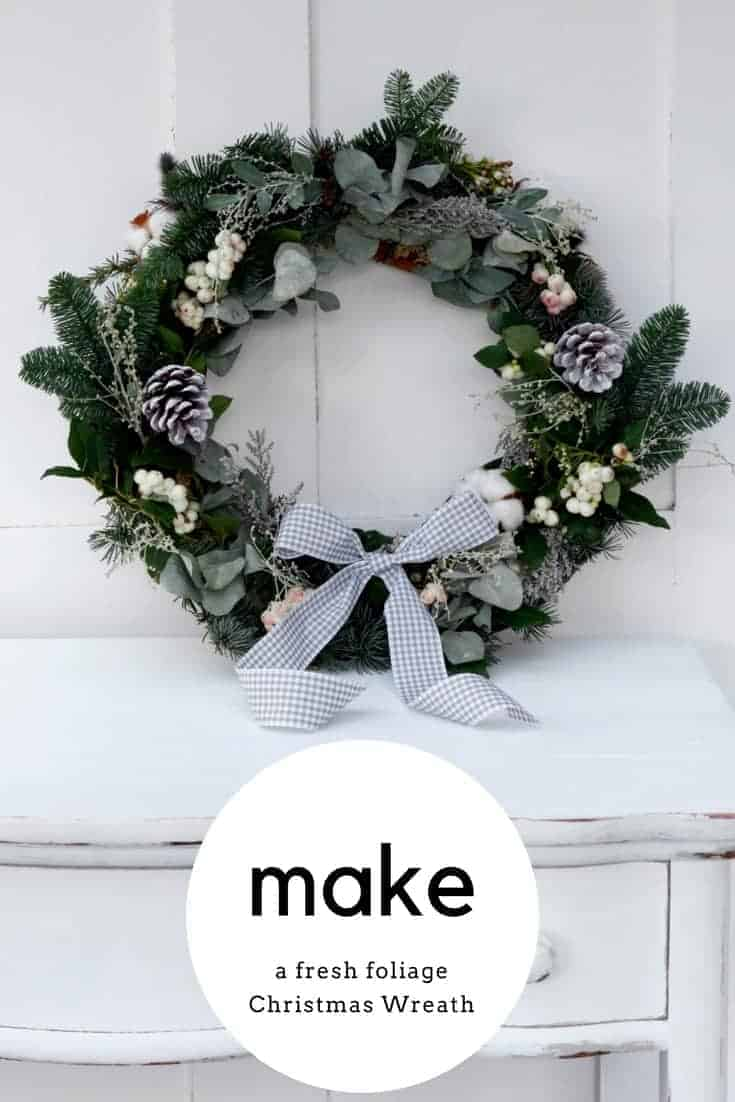 DIY christmas wreath - how to make a fresh foliage Christmas wreath. click through for easy step by steps to create a beautiful festive wreath for your own front door this year