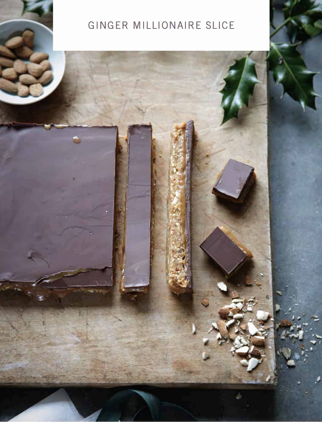 I love this festive ginger millionaire shortbread recipe by Daylesford organic - click through to get the free recipe ebook with some simply beautiful and seasonal festive recipes to take the hassle out of Christmas lunch and festive entertaining