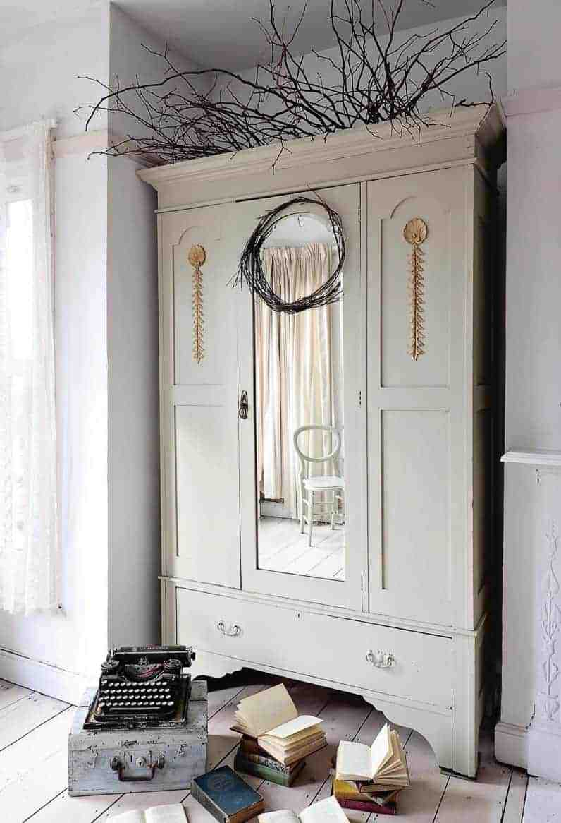 love this painted vintage wardrobe with gold gilded detail annie sloan chalk paint white. Click through to see more inspirational creative painted furniture ideas and DIY tutorial projects you'll love to try