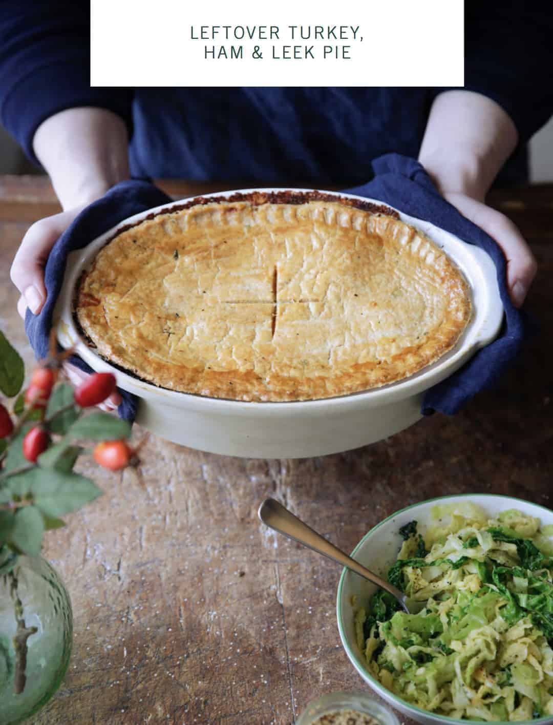 I love this leftover turkey and ham pie recipe by Daylesford organic - click through to get the free recipe ebook with some simply beautiful and seasonal festive recipes to take the hassle out of Christmas lunch and festive entertaining