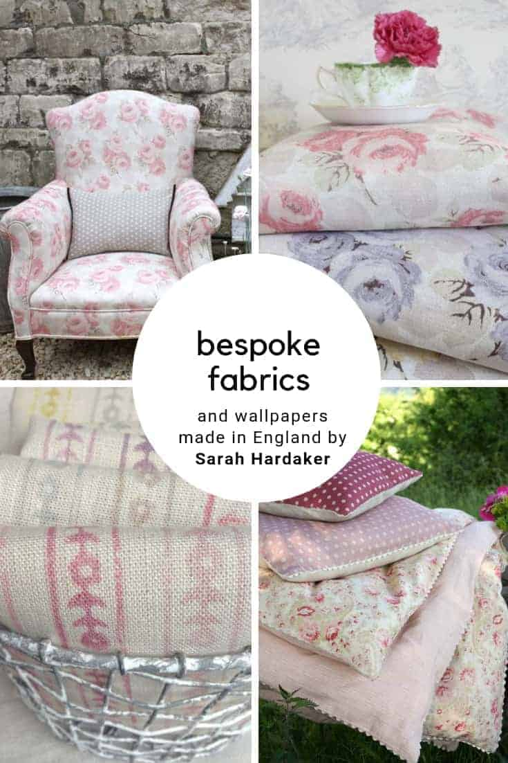 love these pretty vintage inspired bespoke linens and fabrics made in UK by Sarah Hardaker, including pretty country cottage inspired cabbage roses, florals, stripes and dots. Click through to discover the whole beautiful collection, sure to add a touch of simple beauty to your own home #vintage #linens #fabrics #wallpapers #madeinbritain #frombritainwithlove #bespoke