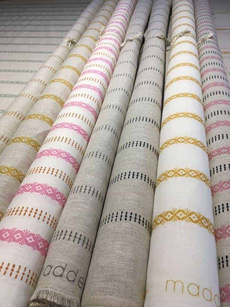 love fabric lampshades covered in this stripe linen by madder cutch and co