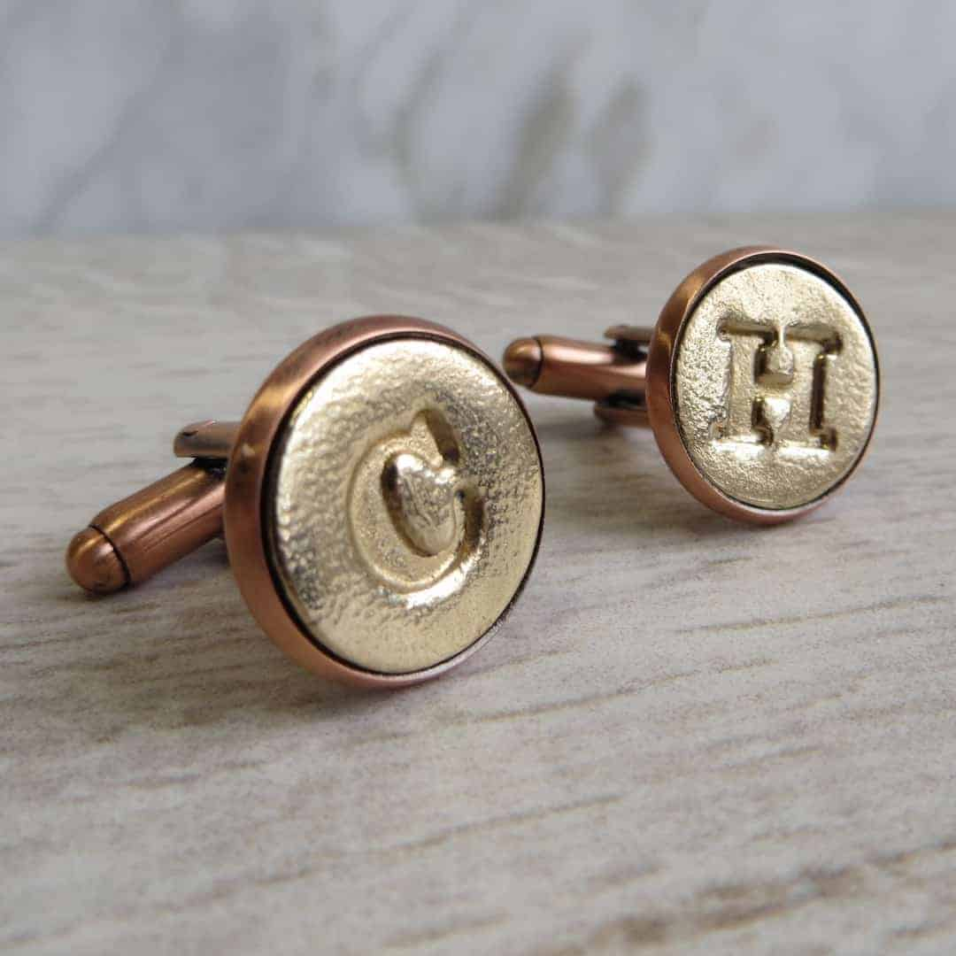 Gracie Collins Bronze letter cufflinks