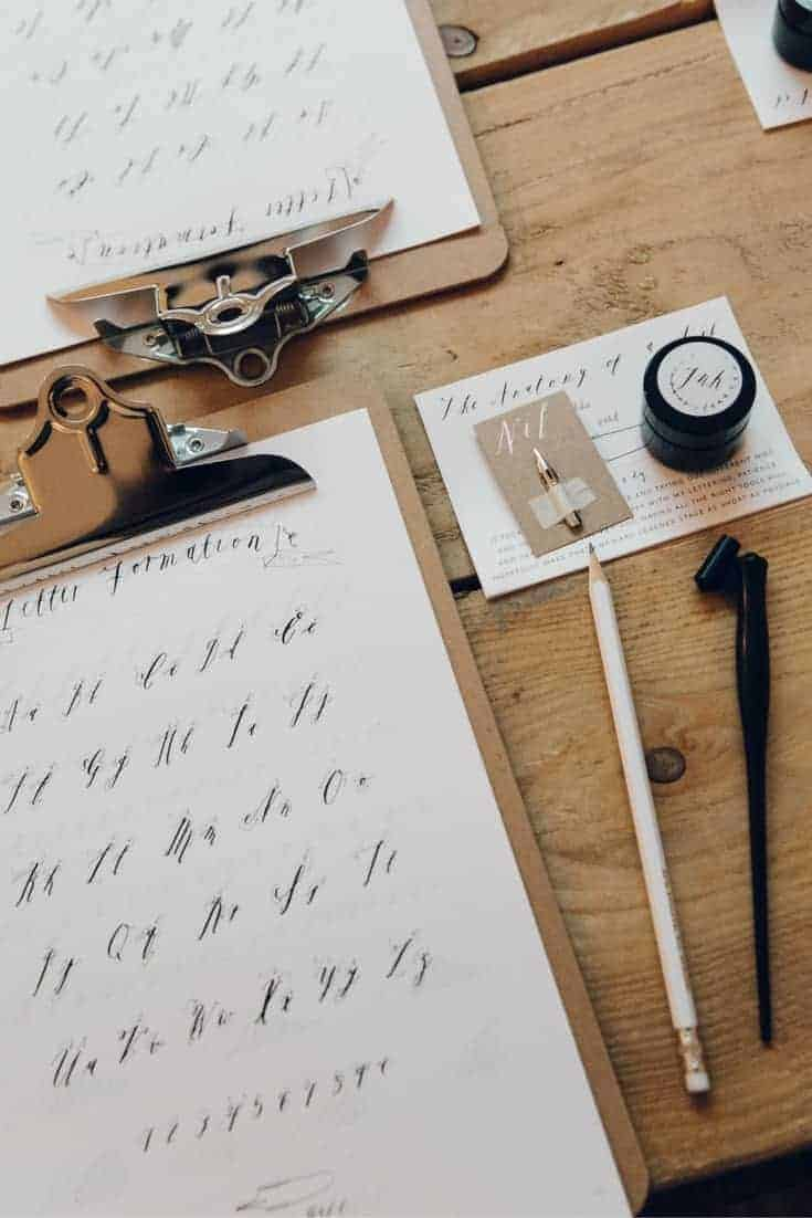 Love Alice Gabb's distinctive hand drawn ink calligraphy. Learn how to create beautiful lettering for yourself. Click through to get all the details you need