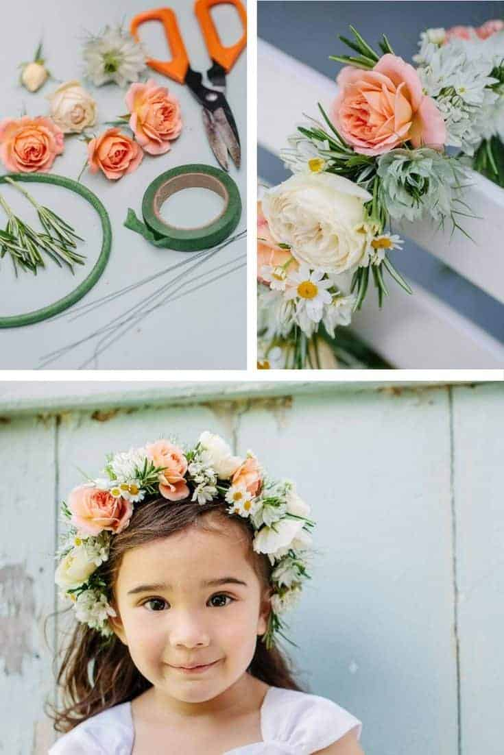 floral bridesmaid headdress with roses and daisies. Perfect for a country wedding. Click through for beautiful and inspiring ideas you'll love