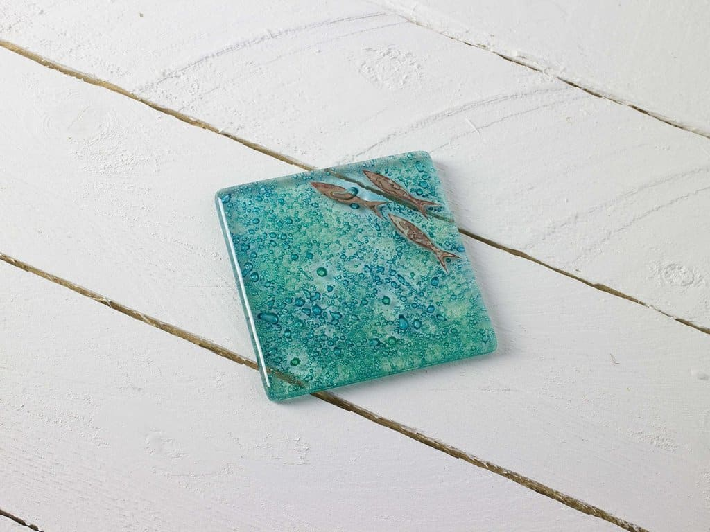 jo downs glass blue glass and copper fish coaster. Click through for more local finds and simple pleasures in Cornwall