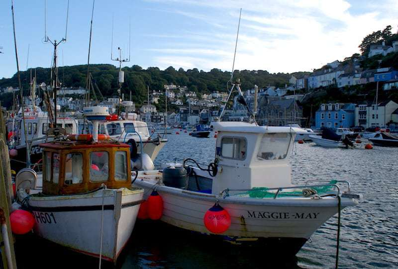 colourful boats in harbour at Looe in Cornwall