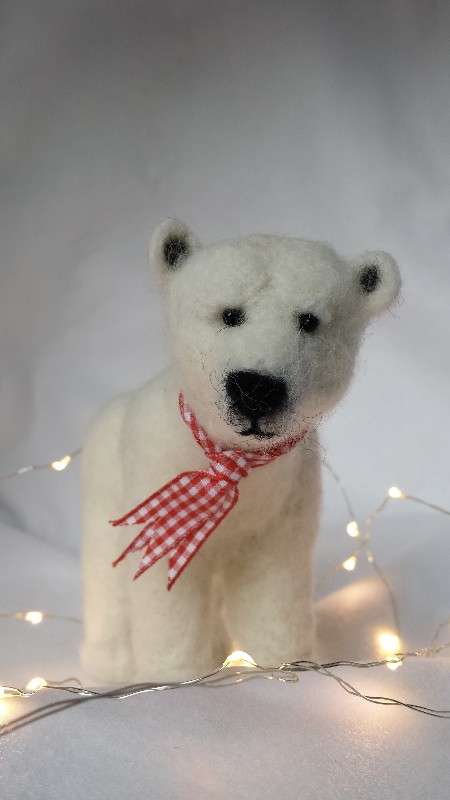 sew-recycled-needle-felted-wool-Polar-Bear