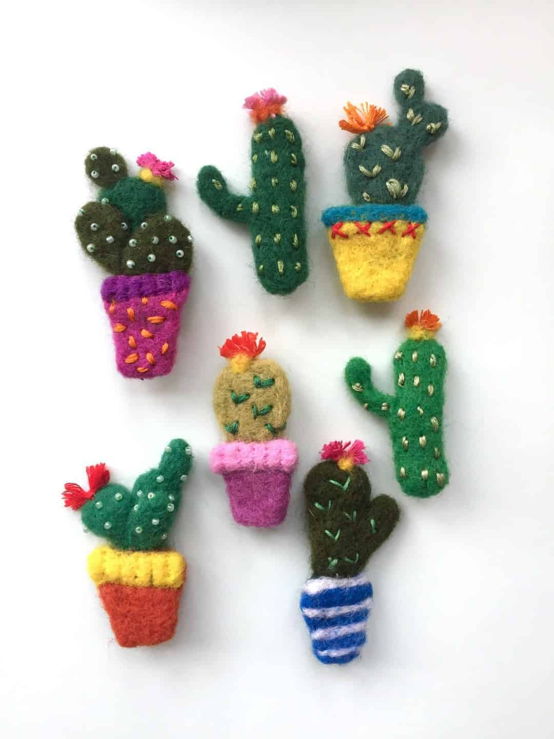 needle felted wool cacti emma herian sew recycled