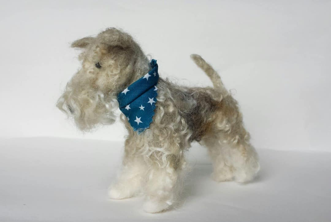 emma herian sew recycled felted lakeland terrier