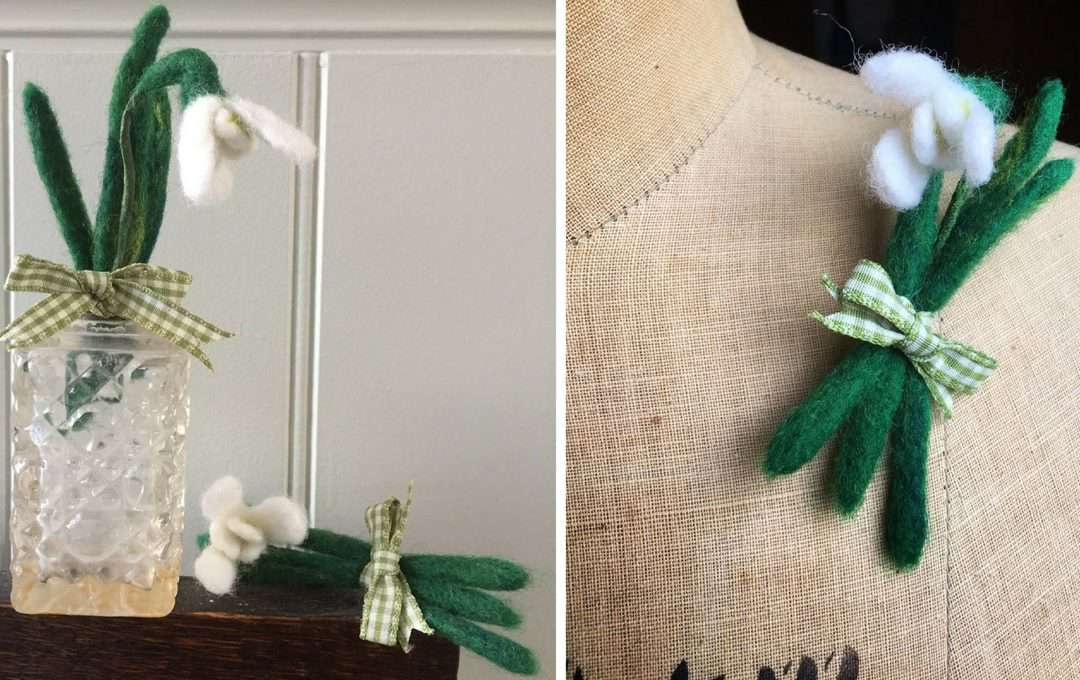 how to make a felted snowdrop brooch