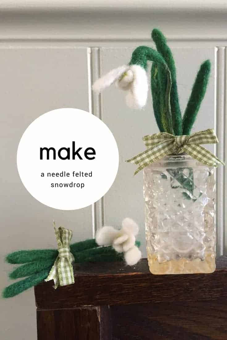 how to make a needle felted snowdrop brooch. Click through for easy step by steps by textile artist Emma Herian of Sew Recycled