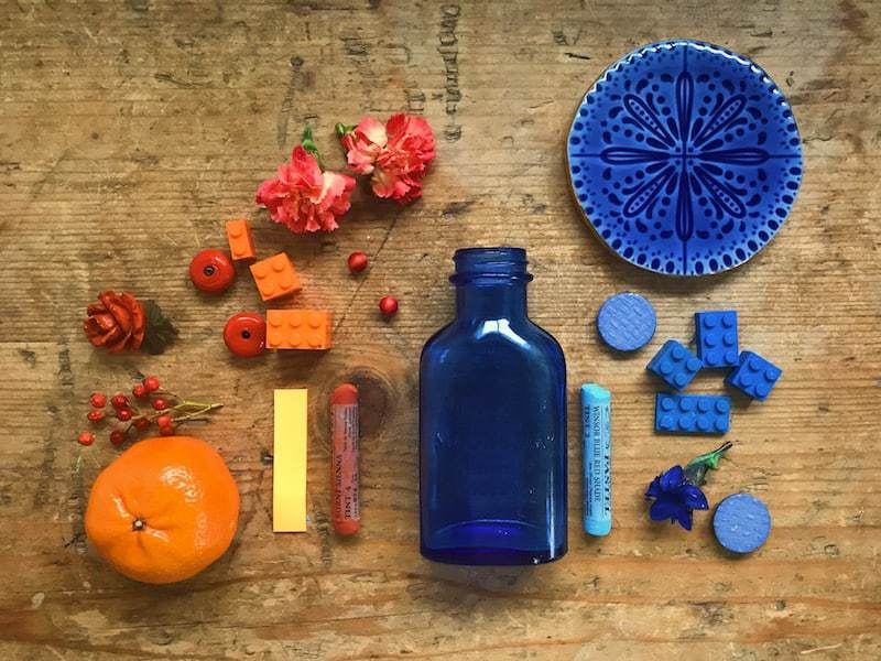 5ftinf blue and orange flatlay step one before adding orange objects to create contrast and interest. Click through for more images