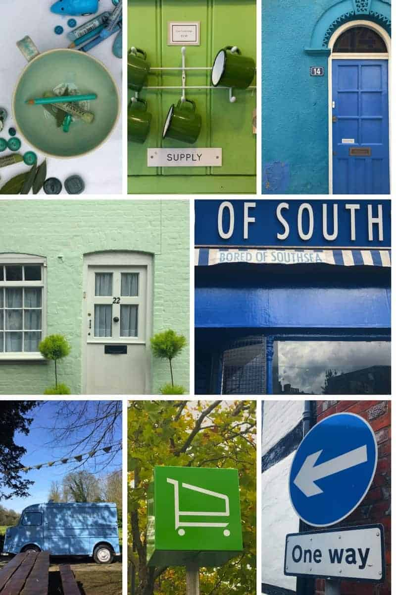 blue and green photographic moodboard. Click through for more images from this week's Consciously Creative course all about colour. There are great ideas for you to try too - it could transform the way you see the world forever!