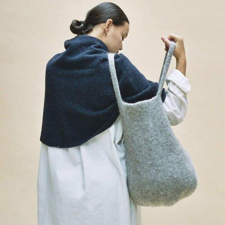 Grey wool belt sack by by Cecilie Telle from the Selvedge shop chosen by Selvedge founder, Polly. Click through to discover her other Christmas gift wish list choices