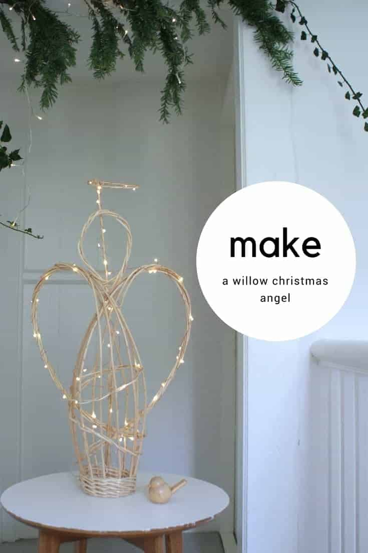 how to make a willow angel christmas decoration. Click through for easy step by steps to making your own white willow christmas angel with Judith Needham