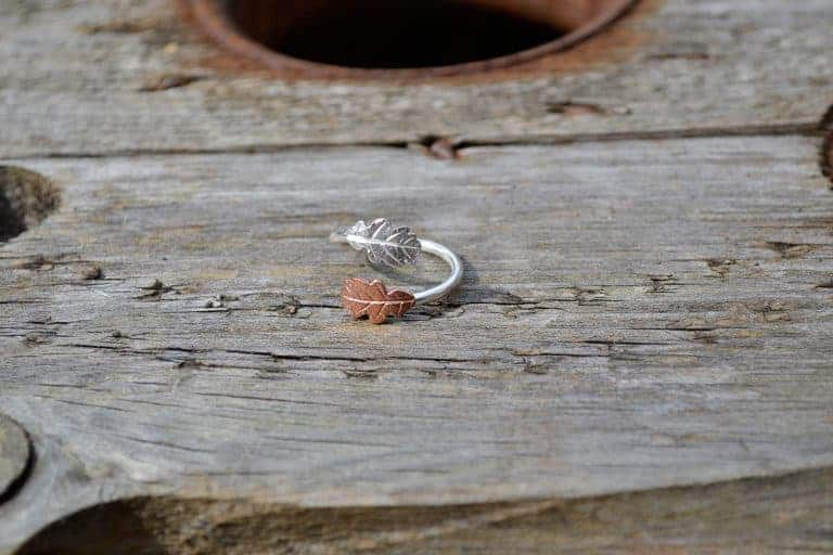 bethan jarvis copper and silver leaf ring