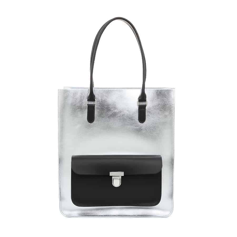 brix and bailey silver tote
