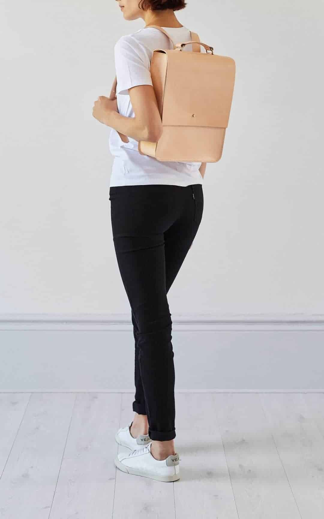 Love this nude leather minimal backpack by Grace Gordon. It's one of Sara Tasker's top 5 favourite Christmas gift ideas. Click through to discover her other 4 - you'll love them!