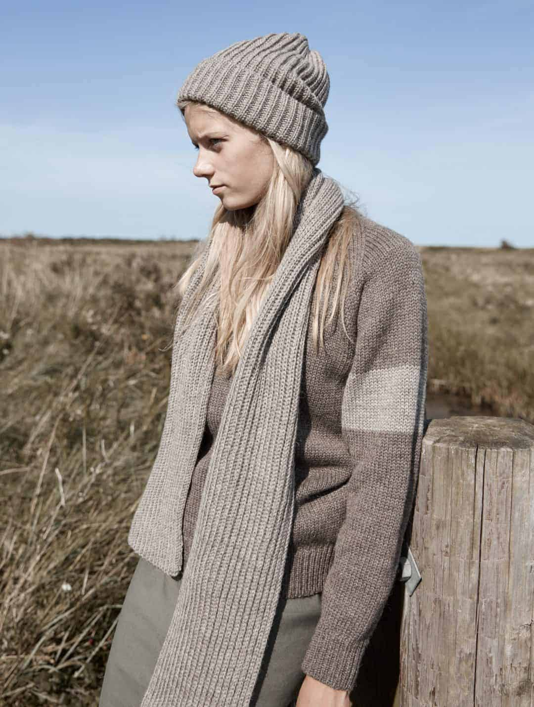 love this beige and brown jumper, hat and scarf from the new seasonal natural knitwear by izzy lane made in Britain using wool from her own flock of sheep. Click through to see the whole beautiful new collection