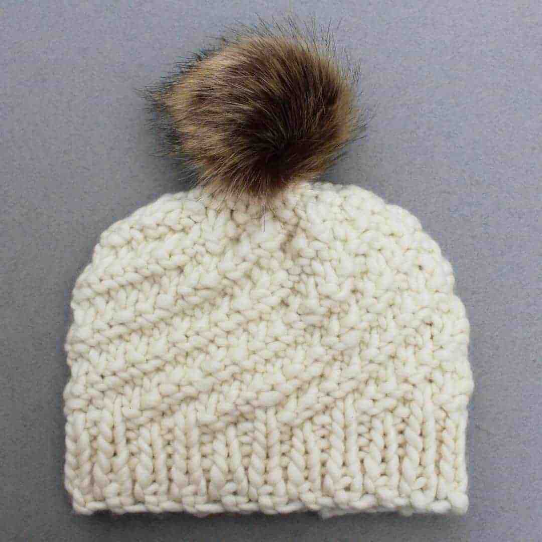 justine louise chunky cream wool beanie with fur pom pom