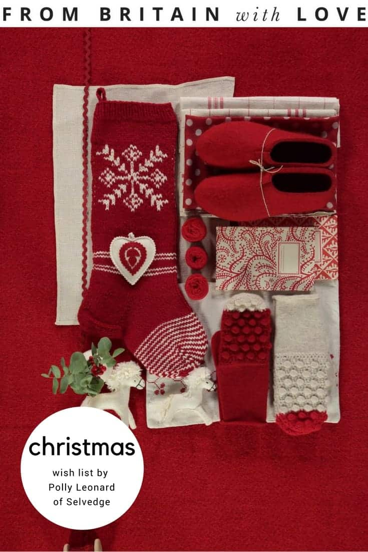 love this red and white scandi folk christmas gifts, slippers, mittens and notebooks gift box from the Selvedge christmas fair. Click through to discover Selvedge founder, Polly Leaonard's beautiful gift wish list...