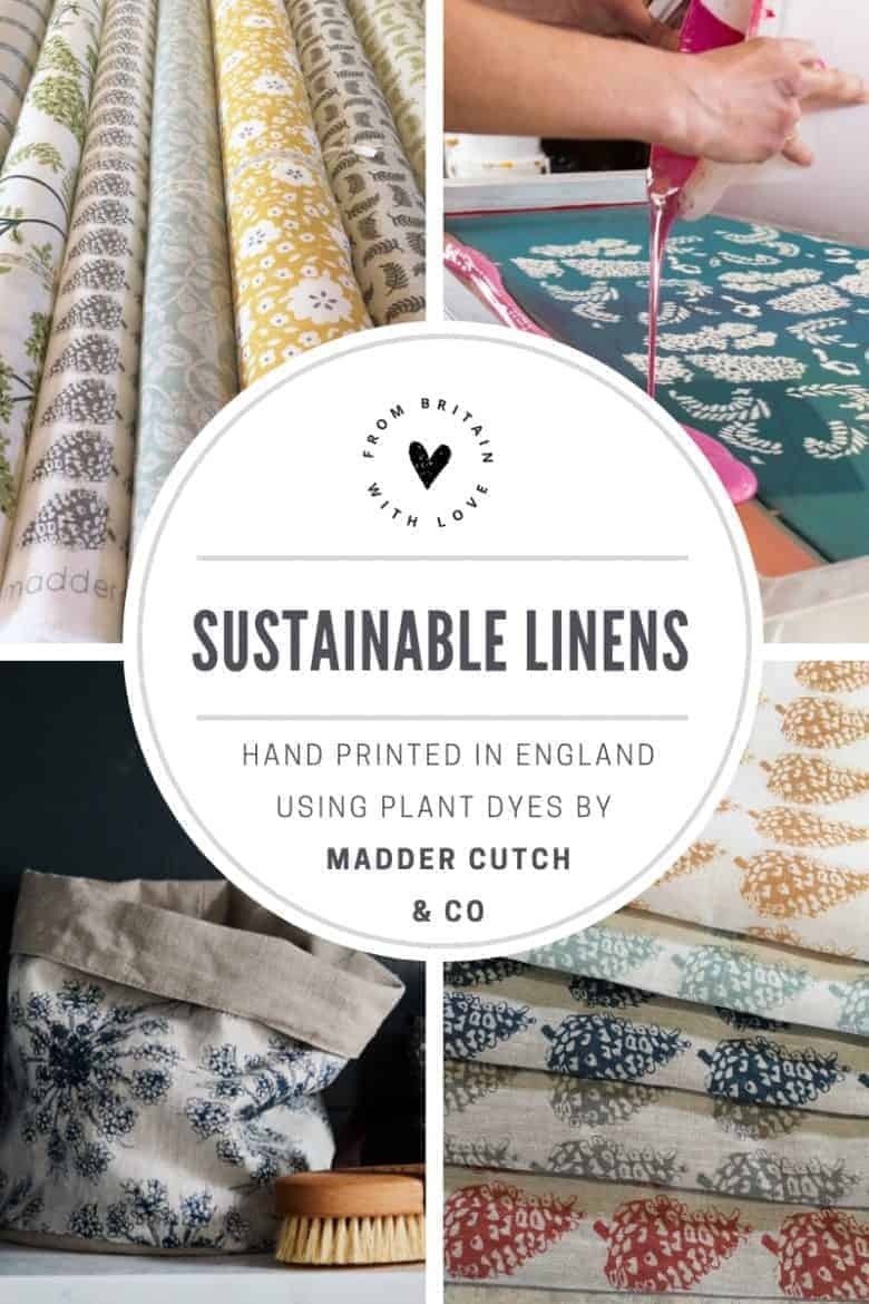 love these sustainable printed linens by Madder Cutch and Co hand printed using eco friendly vegetable dyes and 100% pure linen. Click through to see the whole collection of fabrics as well as the beautiful online shop of linen accessories including lampshades, cushions, aprons, soft toys, storage buckets, covered notebooks, patchwork fabric kits and more #sustainable #linen #ecofriendly #fabrics #handprinted #madeinbritain #frombritainwithlove