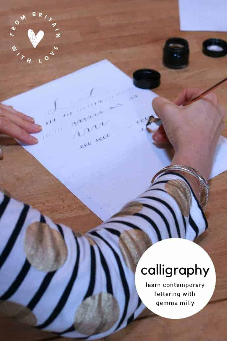 learn how to create contemporary calligraphy with festive lettering. We share our day at the Gemma Milly Contemporary Christmas calligraphy workshop so you can have a go yourself