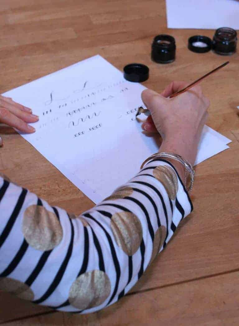 christmas contemporary calligraphy workshop with gemma milly