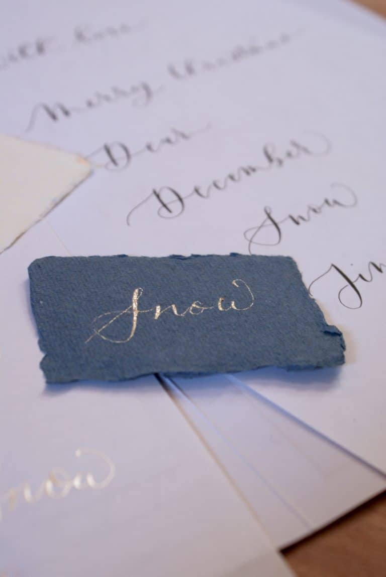 love these metallic inks on the how to create christmas contemporary calligraphy workshop with gemma milly