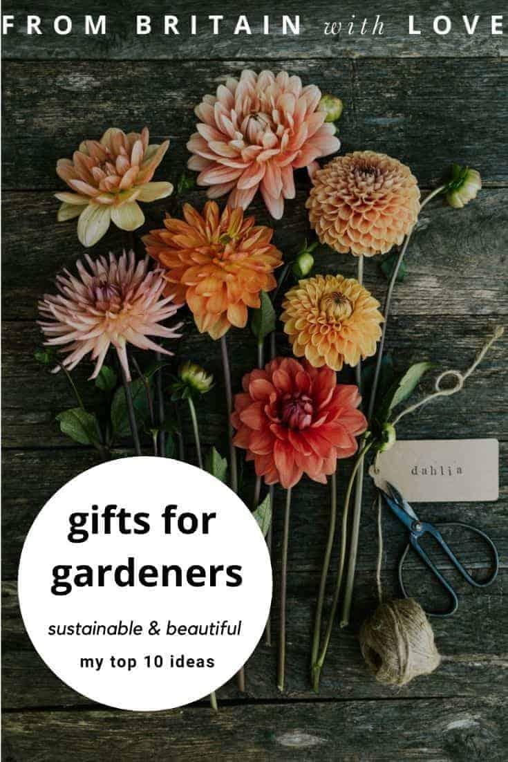 gift ideas for gardeners - my top 10 favourite ideas that are sustainable, handcrafted, beautiful and sure to be loved by real gardeners including signed garden books, gardening equipment, photography workshops, seasonal almanacs, natural hand balm for hardworking hands, bird and wildlife feeders and more #gifts #giftideas #gardeners #garden #sustainable #madeinbritain