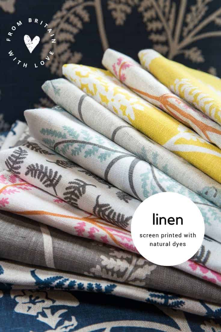 love screen printed linen using natural dye by Madder Cutch and Co. Click through to discover this beautiful range of hand printed pure linen using sustainable natural dyes