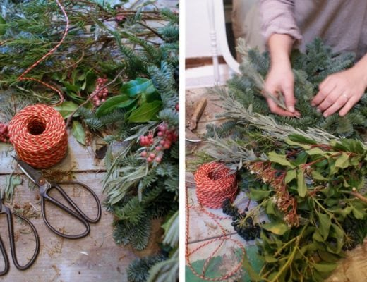 how to make contemporary fresh christmas wreath with Sarah of floribunda rose workshop