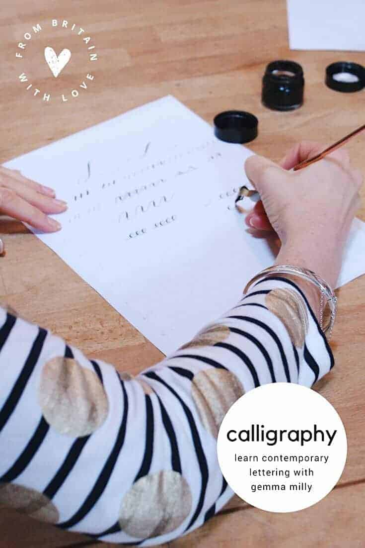 contemporary calligraphy workshop with gemma milly learn how to create beautiful ink lettering with easy step by steps DIY tutorial to creating modern calligraphy - including warm up exercises, tips on letter formation and how to get ink flow and nib pressure right. Click through to learn how to create modern calligraphy and lettering you'll be amazed you could! #calligraphy #moderncalligraphy #lettering #calligraphyworkshop #frombritainwithlove