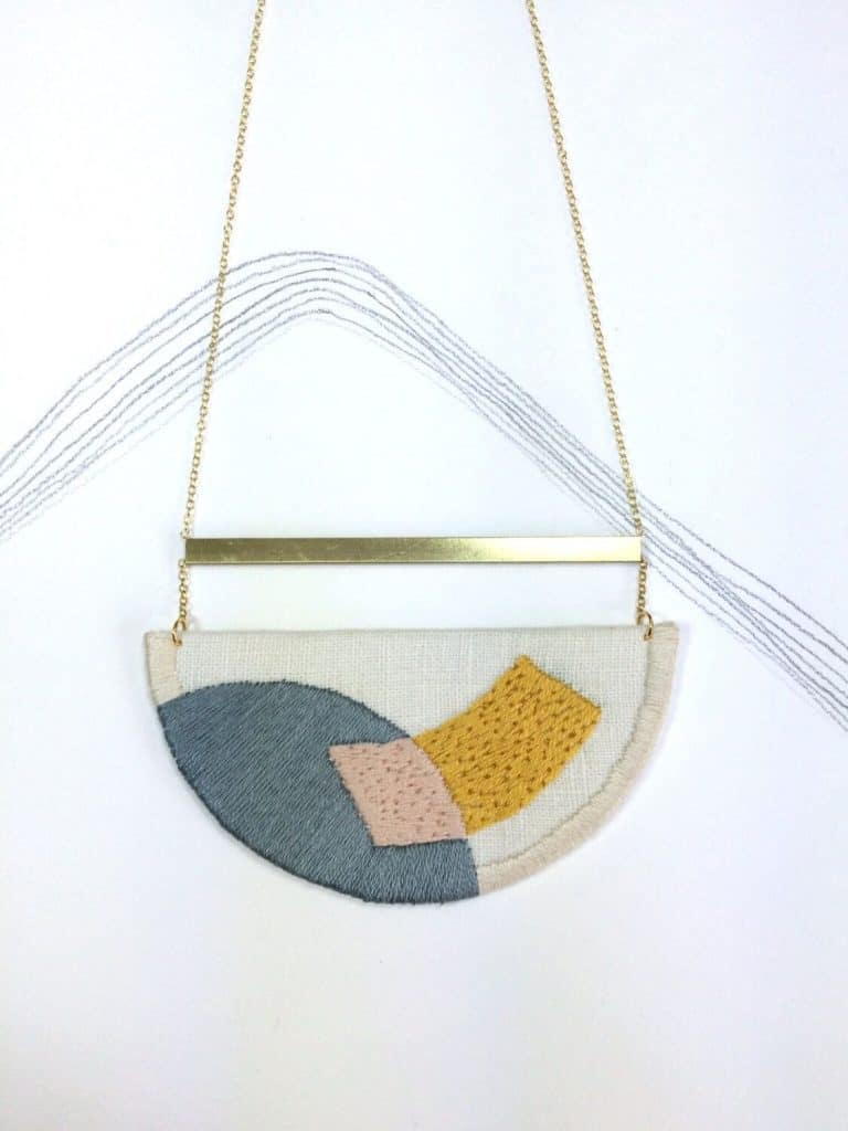 love this midcentury 50s/60s inspired embroidered necklace handmade by nook of the north - necklace